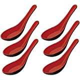 ChefLand Melamine Soba, Rice Spoons, Chinese Won Ton Soup Spoon, Asian Red and Black, 6-Pack