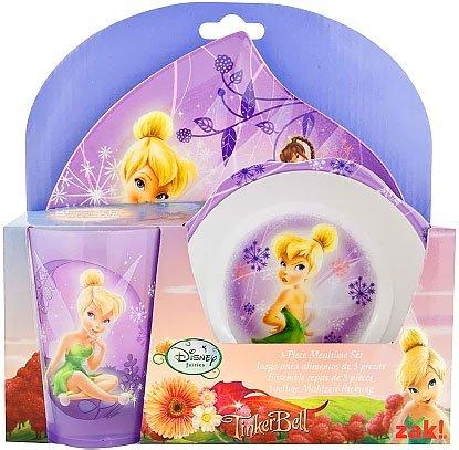 Zak Designs Disney Fairies 3Piece Mealtime Set Plate, Bowl & Tumbler