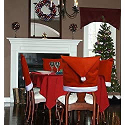 Santa Hat Dining Room Chair Covers Set of 8 Kitchen Christmas Decorations Indoors