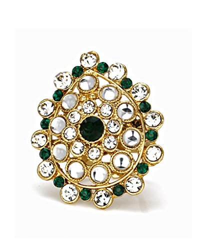 Bindhani Ethnic Traditional Gold Plated Green Adjustable Kundan Finger Ring For Women  available at amazon for Rs.154