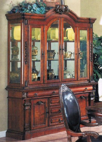 Cheap China Cabinet Buffet Hutch Cherry Brown Finish (VF_AM9390)
