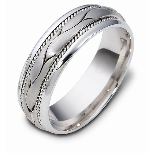 Sterling Silver, Freeform Braid 7MM Wedding Band (sz 5)