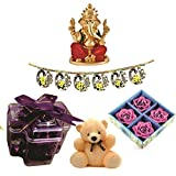 Skylofts Stylish Chocolate Plus With 4pc Diya Set & A Bandanwaar, Ganeshji Idol Diwali Combo