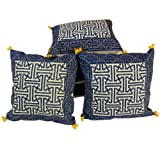Little India Sanganeri Hazy Print Cotton 5 Piece Cushion Cover - Blue