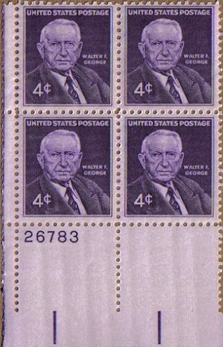 1960 Walter F. George ~ Democrat Senator #1170 Plate Block Of 4 X 4 Cents Us Postage Stamps