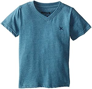 Hurley Little Boys' Icon Premium V T Shirt, Rift Blue Heather, 2T