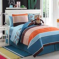 7 Pc Reversible Boys Monkey Comforter Set Bed in a Bag Twin Size Bedding By Plush C Collection