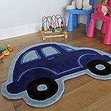 Boy's Thick Mat Cheap Beetle Blue Car Kid's Floor Rug 80 x 100cm