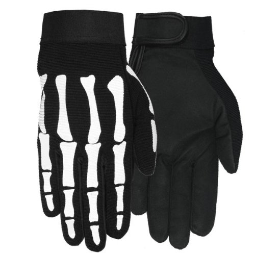Hot Leathers Skeleton Mechanic Gloves (Black, Large)