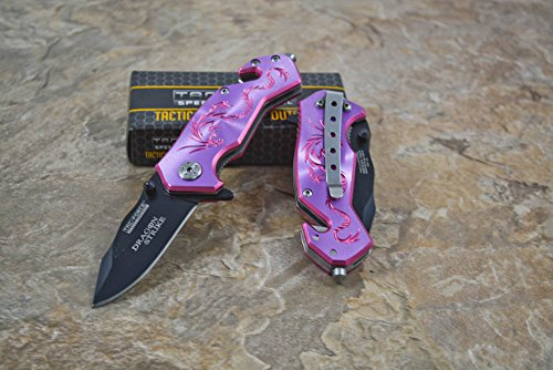 "Tac-force Assisted Opening Hunting Tactical Camping Purple Aluminum Handle Dragon Graphics Design A/o 3.5"" Closed Small Pocket Knife"