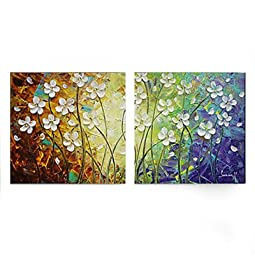 Amoy Art -Hand Painted Modern Canvas Wall Art Floral Oil Paintings with Stretched and Framed - Set of 2 Panels Ready to Hang