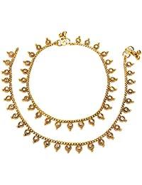 Satyam Jewellery Nx Traditional Golden Anklets/Payal For Women Fashion Jewellery (Wedding Season)