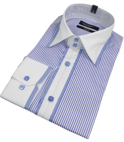 Mens Italian Design White Collar Blue Stripe Shirt Slim Fit Smart or Casual 100% Cotton