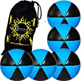 Flames N Games ASTRIX UV Thud Juggling Balls set of 5 (Black/UV Blue) Pro 6 Panel Leather Juggling Ball Set & Travel Bag!