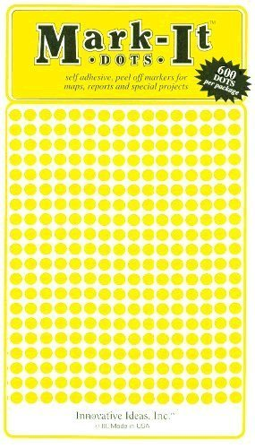 "Map Dot Stickers - Yellow - 1/8"" Diameter - 1"