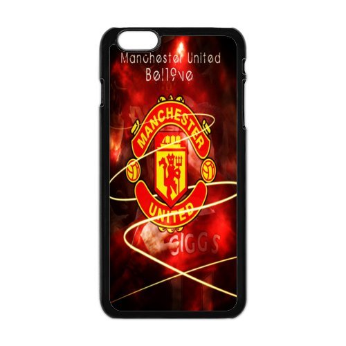 Soccer Manchester United Football Club Classic Design Print Black Case With Hard Shell Cover for Apple iPhone 6 Plus 5.5