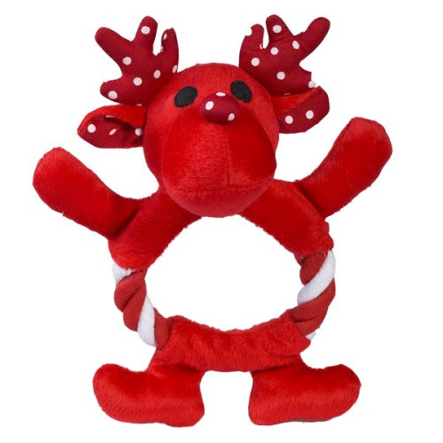 Dog Toy - Zanies Festive Fling-A-Rings Plush and Rope Holiday Pet Toy - Reindeer - Red