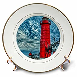 Danita Delimont - Lighthouse - USA, Grand Haven, Michigan, lighthouse - 8 inch Porcelain Plate (cp_230985_1)