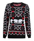 Forever Women's Bear Heart Aztec Print Knitted Christmas Jumper