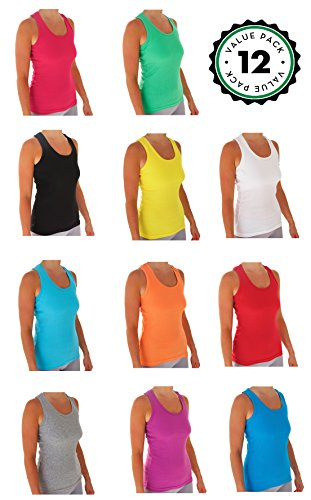 Tank Tops For Women, Basic Cotton Ribbed Racerback Tanktop (12 Pack) (X-Large, Assorted)