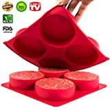 Burger Press - Stuffed Hamburger Patty Maker - Stuff big half pound Patties for your next BBQ Grill Party - Non stick Silicone Freezer Storage Container mold set - Oven bake Quiches, pies, Hash Browns