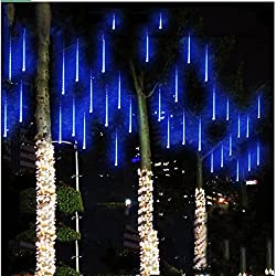 String lights,Paragala Waterproof Falling Rain Fairy Lights With 50cm 240 LED 8 Tubes Meteor Shower Rain LED Christmas Lights for Wedding Party Xmas Tree Indoor Outdoor Gardens Decoration (50cm, Blue)