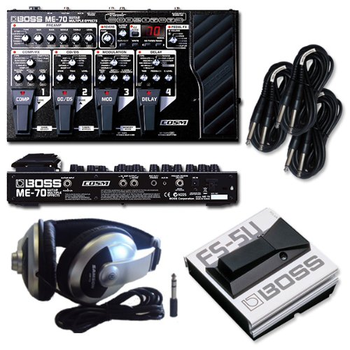 me 70 guitar multi effects pedal with a boss fs5u foot switch samson hp10 headphones and 3. Black Bedroom Furniture Sets. Home Design Ideas