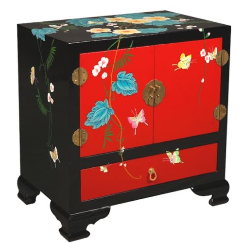 "Cheap EXP Handmade Asian Furniture – 24″ Red & Black ""Summer Fantasy"" Storage Cabinet / End Table – Floral (B0015H29VK)"