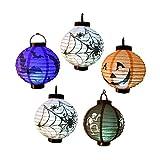 EverKid Halloween Decorations Paper Lanterns with LED Light, pack of 5 - Skeleton,Bats,Jack-O,Spiders