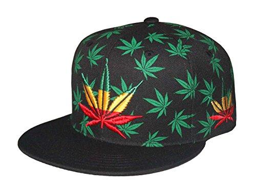 Marijuana-Pot-Leaf-Weed-Canabis-Embroidered-Flat-Bill-Snapback-Cap-Rasta-Leaf