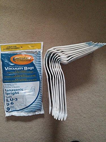 Panasonic Types U, U-3, U-6 Vacuum Bags Microfiltration with Closure - 9 Pack (Panasonic Vacuum Bags compare prices)