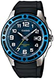 Casio Men's Core MTP1347-2AV Black Resin Quartz Watch with Blue Dial