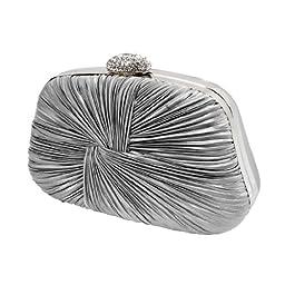 BMC Swirling Clinched Silver Satin Fabric Rhinestone Covered Locking Clasp Fashion Clutch Purse