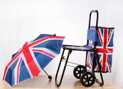 Olympic Union Jack Shopping Cart Trolley with Seat Chair Umbrella Cool Bag the Celebration Sit & Go