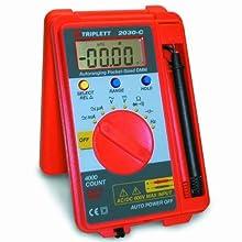 Triplett 2030-C Autoranging Pocket Sized Digital Multimeter, 600V AC/DC, 40megOhms Resistance, 10KHz Frequency, 100uF Capacitance, Diode Test, Continuity Beeper