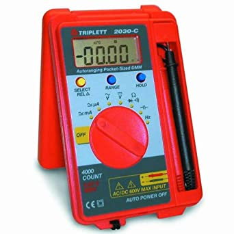 Triplett 2030-C Pocket-Sized Autoranging Digital Multimeter, 37 Measurement Ranges