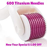 """Derma Roller-The Ultimate """"No Surgery Needed"""" At-Home Cosmetic Treatment The Microneedle Derma Micro Rollers 600 1.0mm Titanium Needles Provide Professional-Quality Treatment For Acne, Stretch Marks, Wrinkles, Fine Lines, Crows Feet, Large Pores, Cellulite, and Hair Loss... WITHOUT The Need For Surgery"""