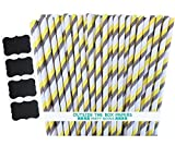Outside the Box Papers Striped Paper Straws 7.75 Inches Pack of 100 Gray, Yellow, White