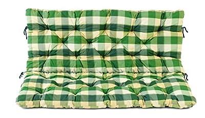 Ambientehome 2er Bank Sitzkissen und Rückenkissen Hanko, kariert grün, ca 120 x 98 x 8 cm, Bankauflage, Polsterauflage von Ambientehome auf Gartenmöbel von Du und Dein Garten