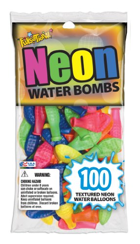 Pioneer National Latex Neon Water Bombs 100 Count Water Balloons, Neon