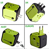 Worldwide Travel Adapter Premium Universal International Plug [US UK EU AU about 150 countries] with Dual USB Charging Ports & Universal AC Socket, Safety Fused (Green)
