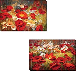 Meadow Poppies I & II by Lucas Santini 2-pc Premium Gallery Wrapped Canvas Giclee Art Set (Ready to Hang)