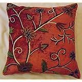 Crewel Pillow Sham Susan Bright Terracotta Cotton Viscose Velvet (16X16)
