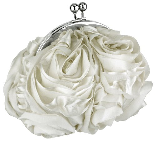 Cream White Bouquet Roses Rosette Handmade Satin Clasp Evening Bag, Clutch Baguette Handbag Purse w/2 Detachable Chains