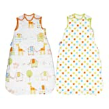 Grobag Hippo Hop & Spot 1.0 and 2.5 Tog Baby Sleep Bag Twin Pack (0-6 Months)
