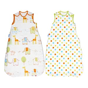 The Gro Company grobag Baby Sleeping Bag Twin Pack, Hippo Hop and Spot 2.5 TOG, 0-6 Months