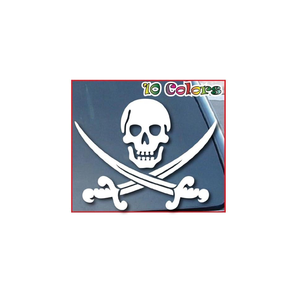 Pirate Skull Swords Crossed Car Window Sticker 9 Wide White
