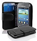 Cadorabo ! PREMIUM - Book Style Hülle im Portemonnaie Design für Samsung Galaxy POCKET NEO (GT-S5310 - NICHT für 2.Generation) in OXID-SCHWARZ