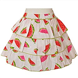 CrayonFlakes Kids Wear for Girls 100% Cotton 3 Tiered White Printed Short Skirt