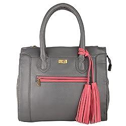 Front Pink Tussel Handbag In Grey